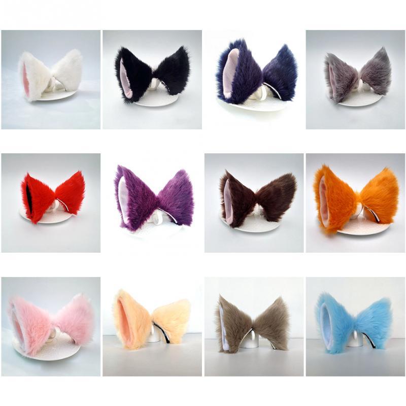 Lolita Anime Cosplay Long Fur Fox Ears Hair Clip Party Neko Cat Ear Dress Hair Accessories #734 2