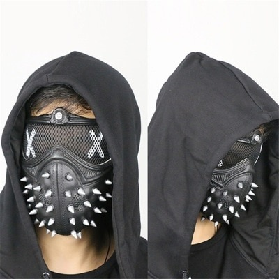game Watch Dogs2 mask cosplay mask black Punk rivet Mask Watch Dogs plastic steampunk mens mask Unisex helmet accessories 1