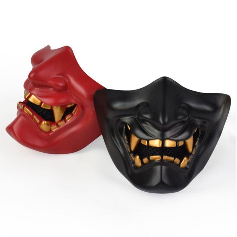 Half Face Mask Cosplay Kabuki Samurai Devil Tactical Halloween Party Festival Prom COS Devil Horror Face 3