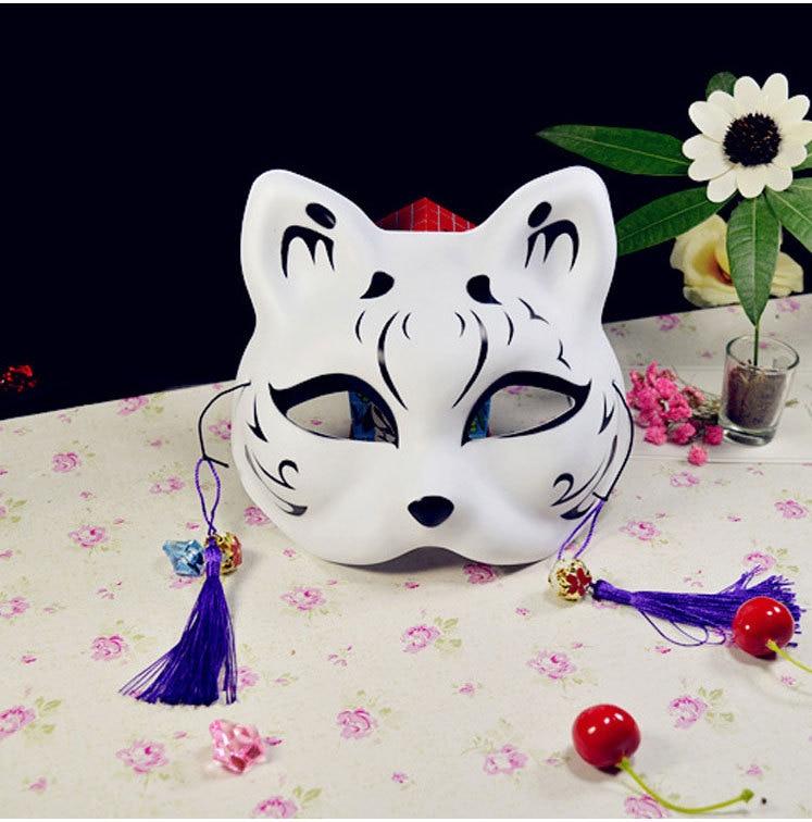 Japanese Fox Masks Full Face Hand-painted Style PVC Fox Cat Mask Cosplay Masquerade Festival Ball Kabuki Kitsune Cosplay Costume 20