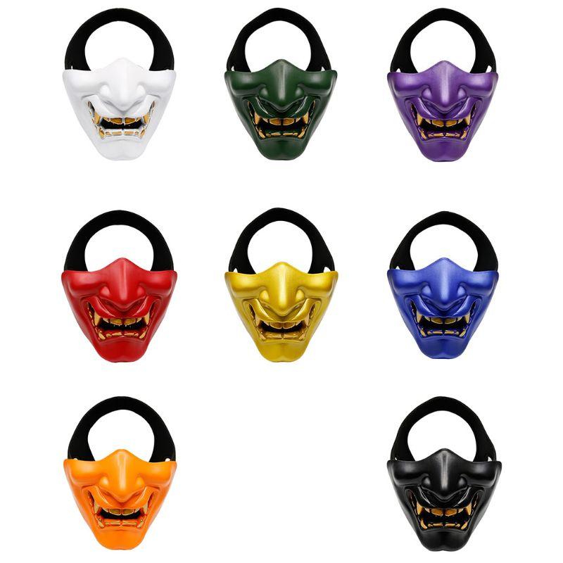 Half Face Mask Cosplay Kabuki Samurai Devil Tactical Halloween Party Festival Prom COS Devil Horror Face 2
