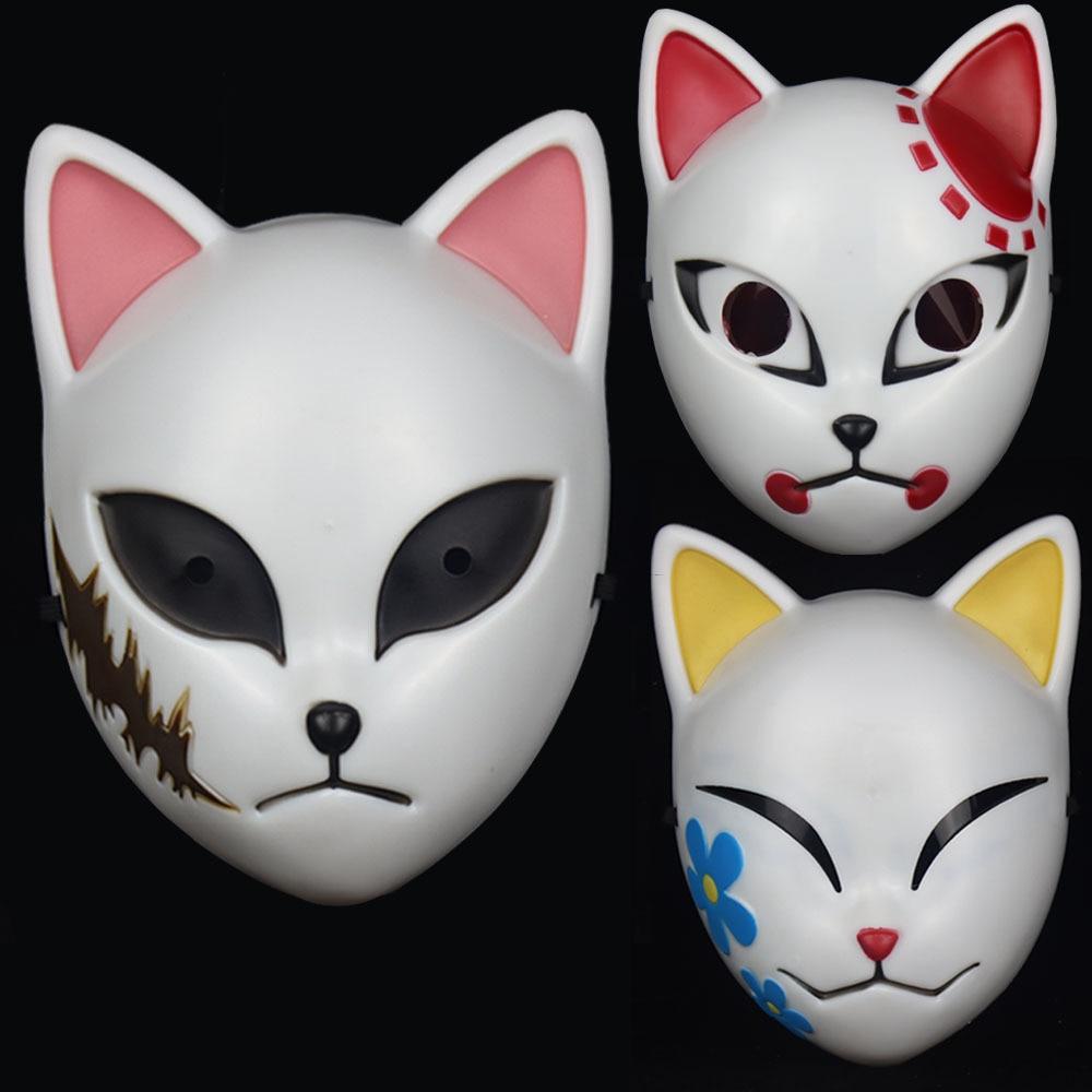 Anime Demon Slayer Kamado Tanjirou Sabito Makomo Plastic Cosplay Mask Headwear Hannya Tengu Masks Halloween Party Mask Props 1