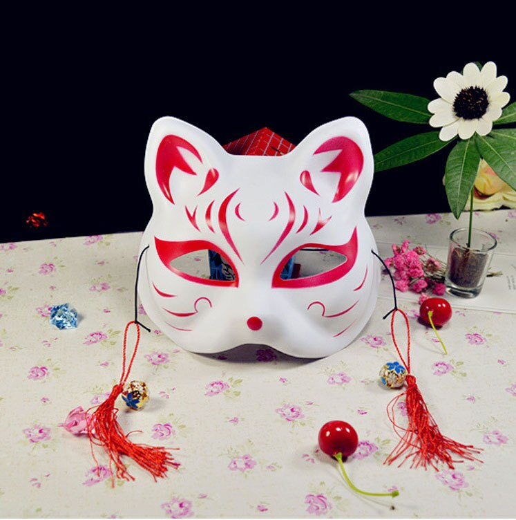 Japanese Fox Masks Full Face Hand-painted Style PVC Fox Cat Mask Cosplay Masquerade Festival Ball Kabuki Kitsune Cosplay Costume 5