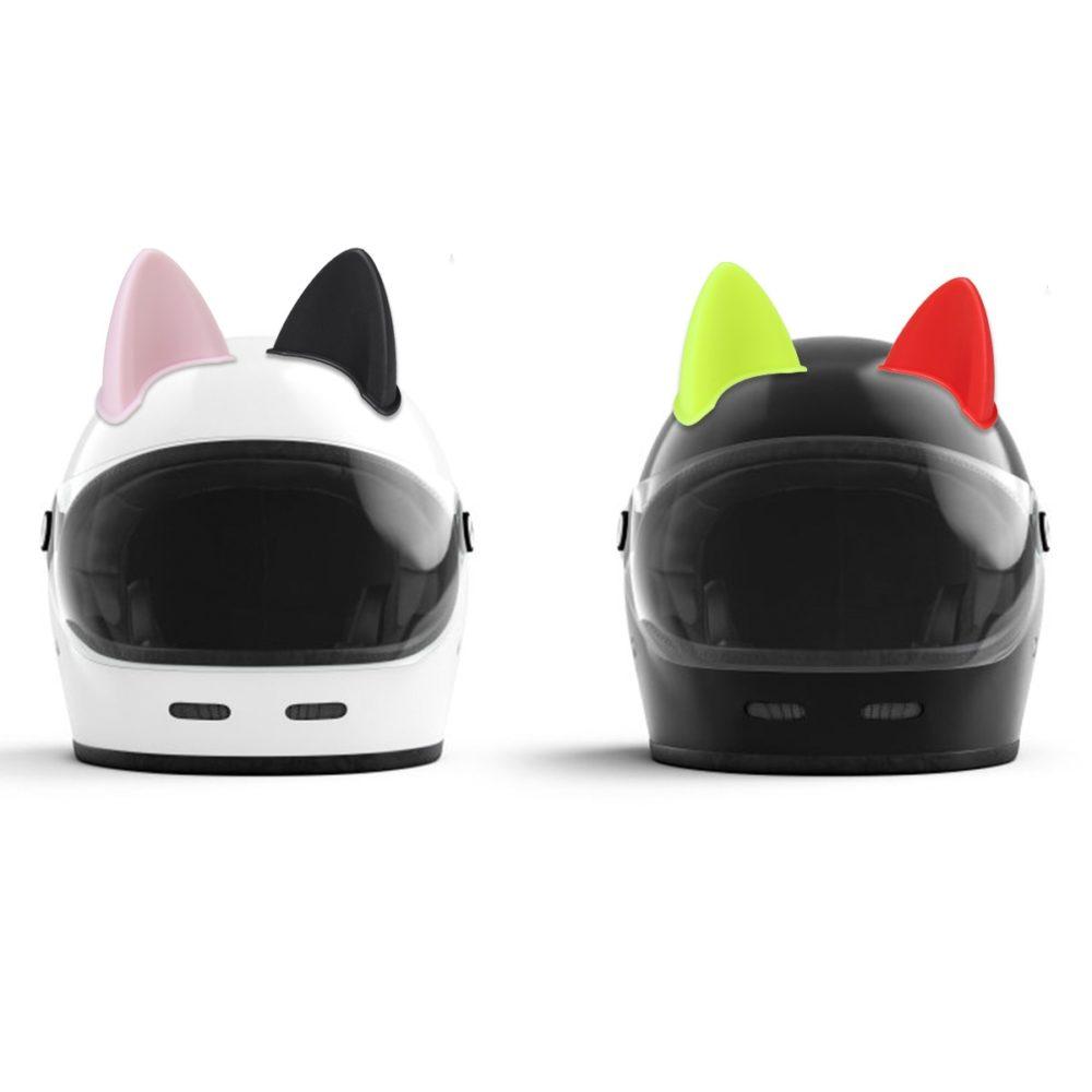 1Pcs Car Motorcycle Helmet Cat Ears Motocross Off Road Helmet Decoration Sticker Cosplay Ornament Accessory ABS 3D Sticker 3