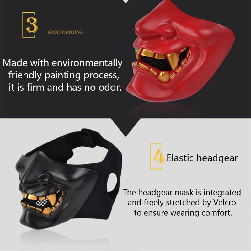 Half Face Mask Cosplay Kabuki Samurai Devil Tactical Halloween Party Festival Prom COS Devil Horror Face 5