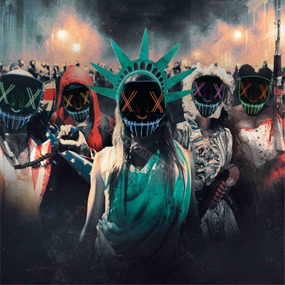 Halloween Mask LED Maske Light Up Party Masks Neon Maska Cosplay Mascara Horror Mascarillas Glow In Dark Masque V for Vendetta 1