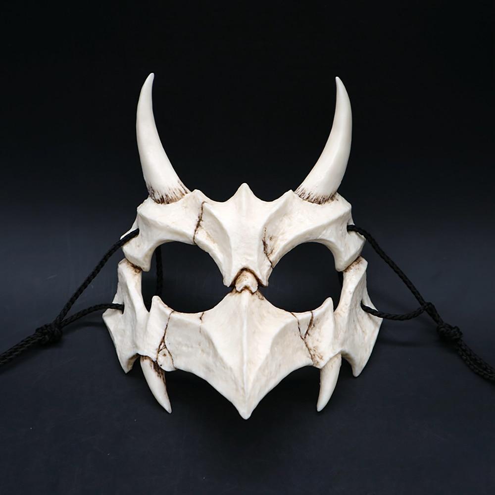 Party Mask Long Teeth Demon Samurai White Bone Mask Tengu Dragon Yaksa Tiger Resin Mask Cosplay Halloween Props Accessories 5