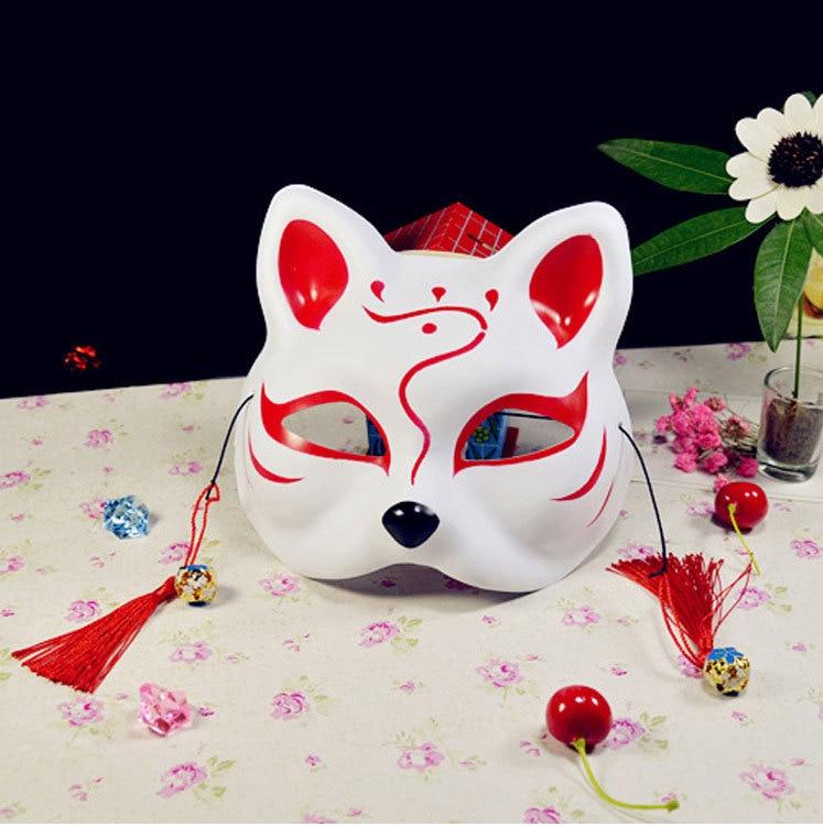 Japanese Fox Masks Full Face Hand-painted Style PVC Fox Cat Mask Cosplay Masquerade Festival Ball Kabuki Kitsune Cosplay Costume 1