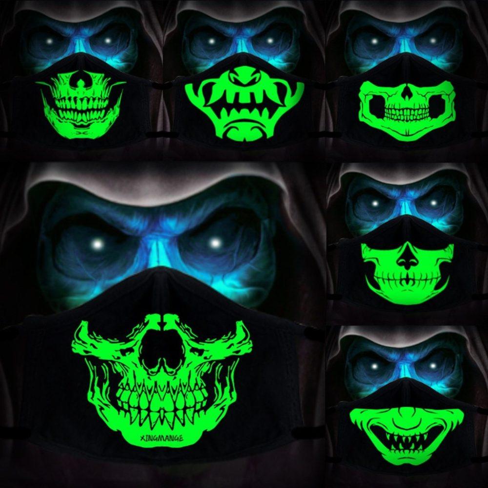 Halloween Cotton DIY Luminous Accessories Dust Masks Skeleton PM2.5 Dustproof Skull Half Face Mask Cosplay For Adult Skull Masks 1