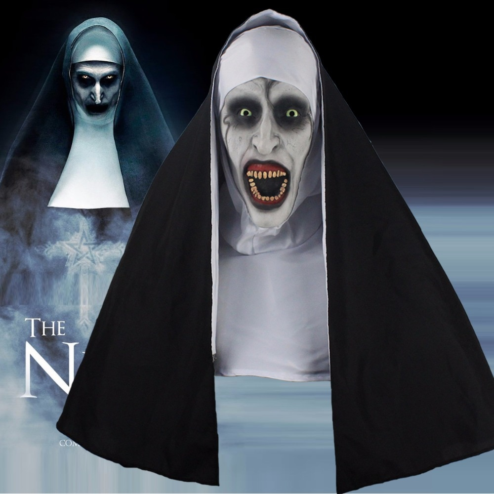 The Nun Horror Mask Cosplay Valak Scary Latex Masks With Headscarf Full Face Helmet Halloween Party Props 2018 Drop Shipping 1