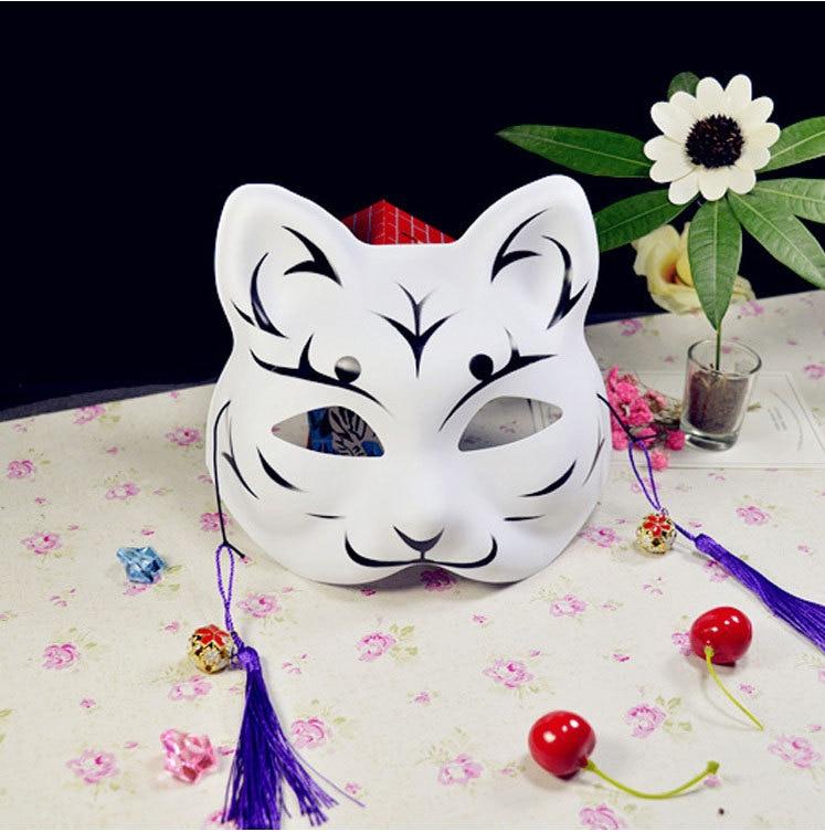 Japanese Fox Masks Full Face Hand-painted Style PVC Fox Cat Mask Cosplay Masquerade Festival Ball Kabuki Kitsune Cosplay Costume 10