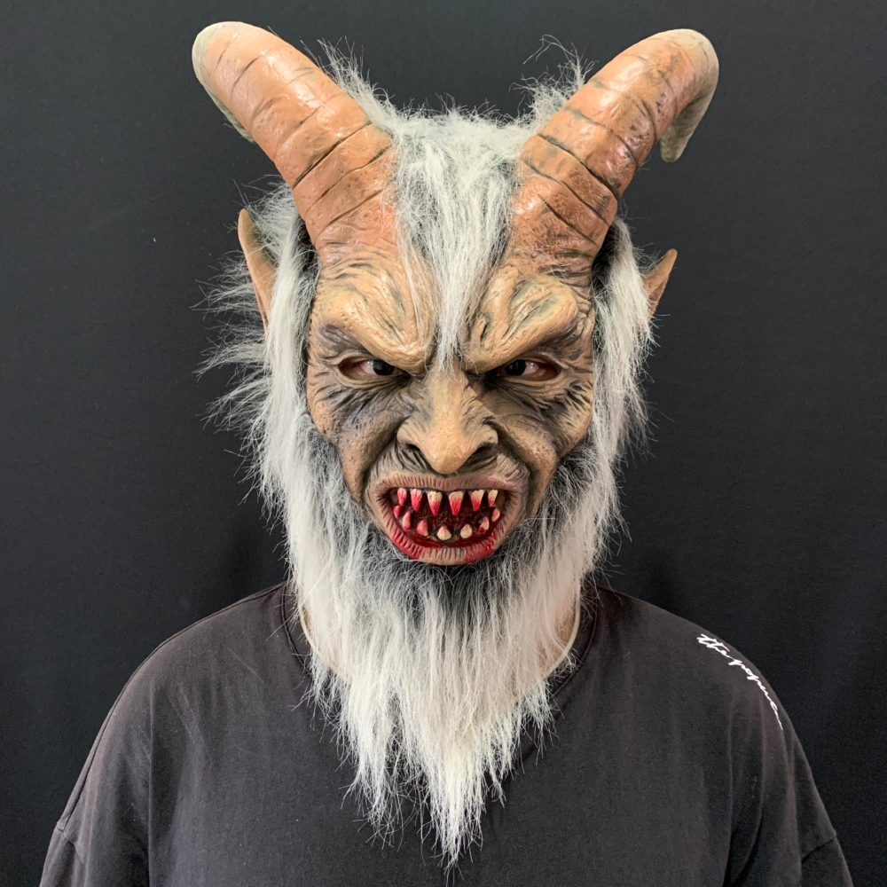 2020 Lucifer Cosplay latex Masks Halloween Costume Scary demon devil movie cosplay Horrible Horn mask Adults Party props 1