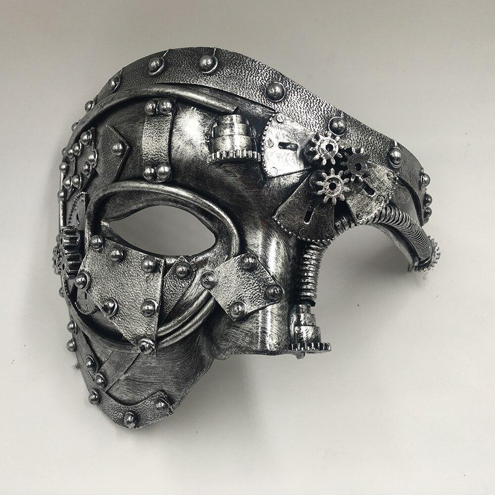 Steampunk  Phantom Masquerade Cosplay Mask Ball Half Face Men Punk Costume Halloween Party Costume Props 3