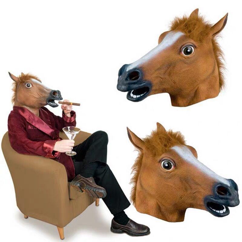 Halloween Mask Ball Cosplay Latex Horse Head Mask Animal Head Set Horse Mask Dog Horse Jun Horse Mask 3