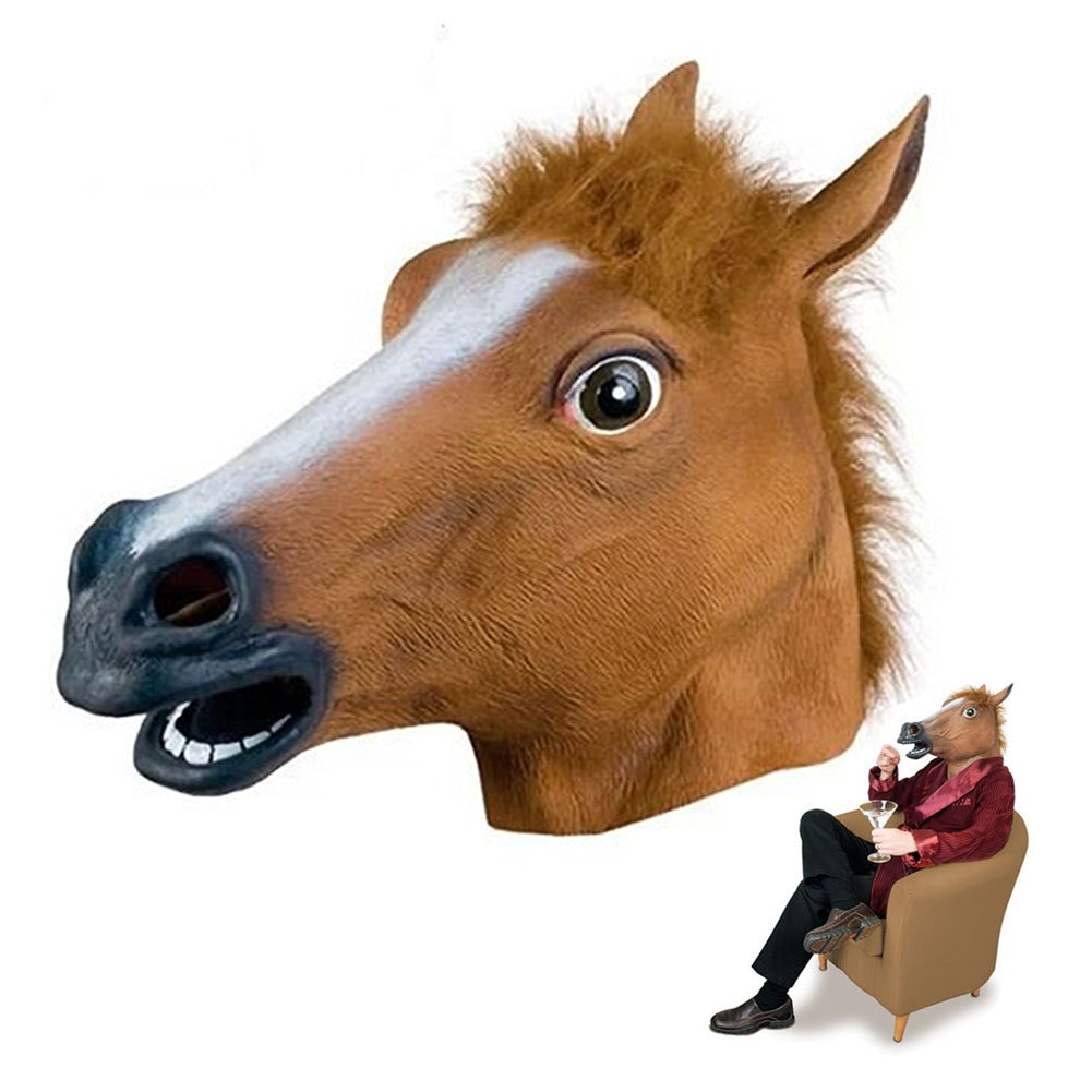 Halloween Mask Ball Cosplay Latex Horse Head Mask Animal Head Set Horse Mask Dog Horse Jun Horse Mask 1