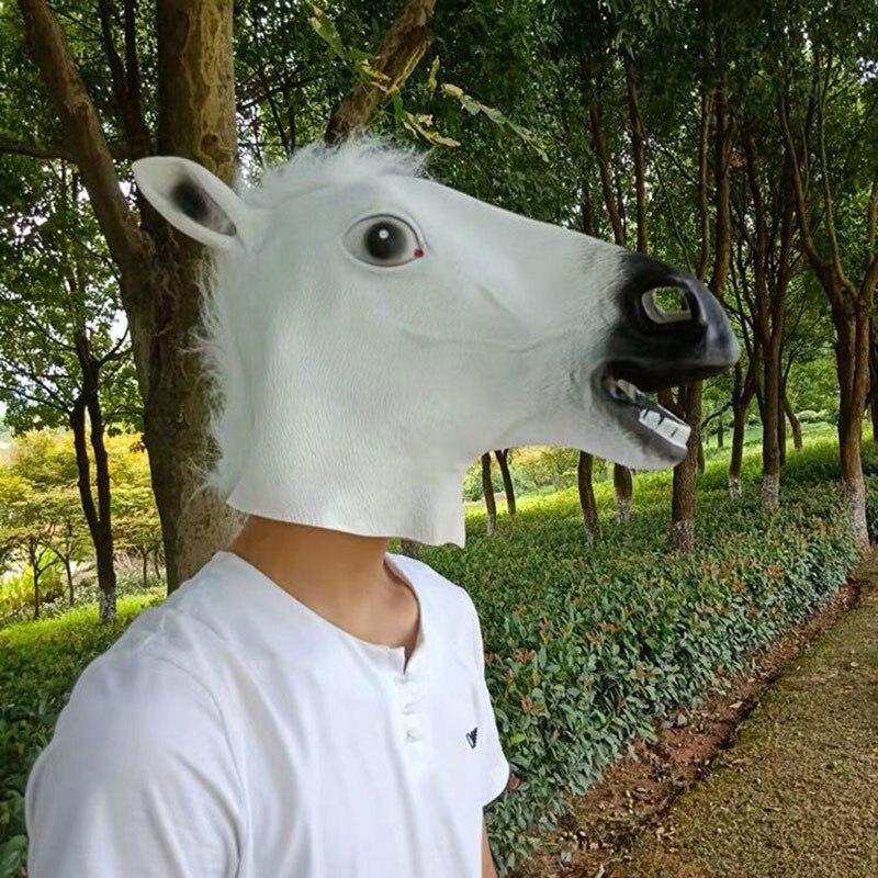 Halloween Mask Ball Cosplay Latex Horse Head Mask Animal Head Set Horse Mask Dog Horse Jun Horse Mask 5