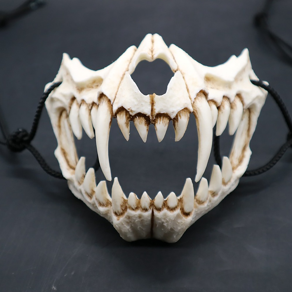 Party Mask Long Teeth Demon Samurai White Bone Mask Tengu Dragon Yaksa Tiger Resin Mask Cosplay Halloween Props Accessories 2