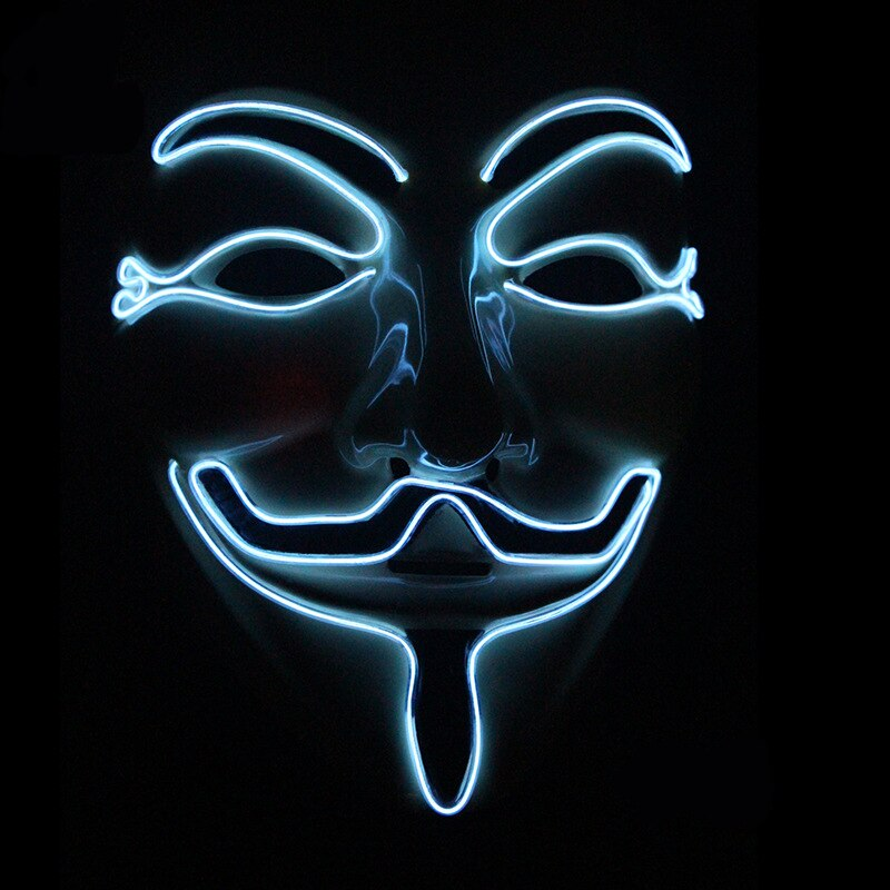 Halloween Mask Vendetta EL Wire Mask Flashing Cosplay LED neon Costume Anonymous Mask for Glowing Dance Carnival Party Masks 3