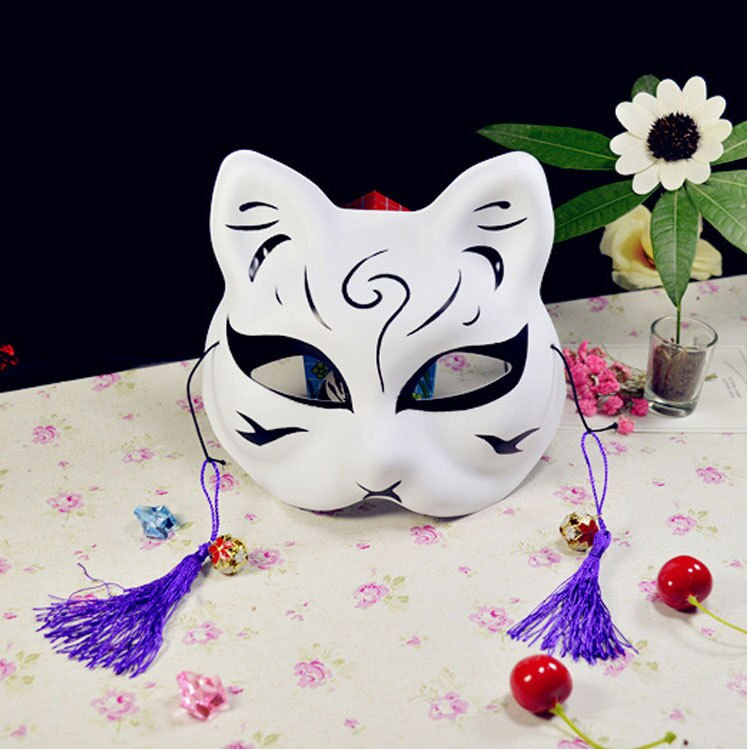 Japanese Fox Masks Full Face Hand-painted Style PVC Fox Cat Mask Cosplay Masquerade Festival Ball Kabuki Kitsune Cosplay Costume 2