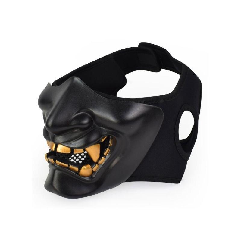 Half Face Mask Cosplay Kabuki Samurai Devil Tactical Halloween Party Festival Prom COS Devil Horror Face 4