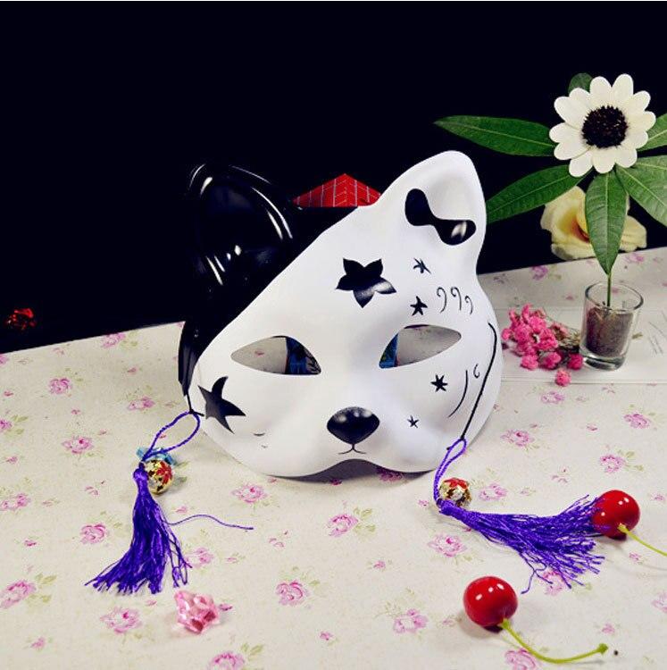 Japanese Fox Masks Full Face Hand-painted Style PVC Fox Cat Mask Cosplay Masquerade Festival Ball Kabuki Kitsune Cosplay Costume 3