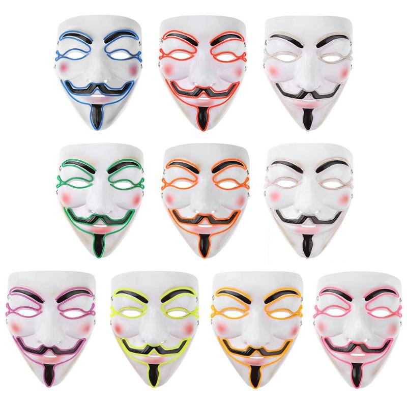 Halloween Mask Vendetta EL Wire Mask Flashing Cosplay LED neon Costume Anonymous Mask for Glowing Dance Carnival Party Masks 6