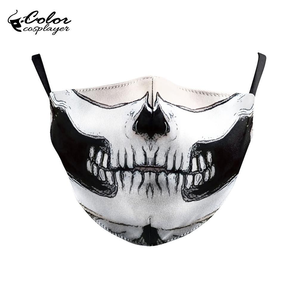 Color Cosplayer Big Mouth Series Skull Face Fabric Mask Printing Fabric Mask Mouth-Muffle Washable Reusable Mask 4