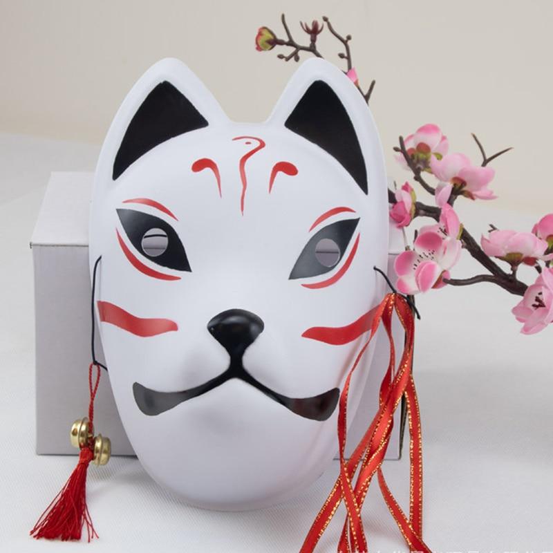Full Face Japanese Fox Mask Kitsune Cosplay Masks Masquerade Fox Masks Japanese Mask PVC Festival Kabuki Masks Cosplay Costume 3