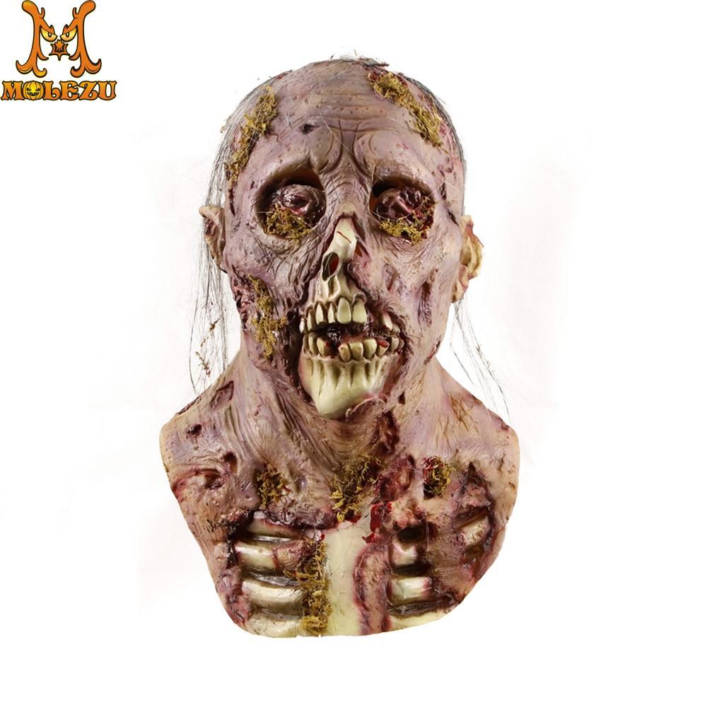Molezu Halloween Bryophyte Biochemical Monster Mask Headgear Terrible Party Cosplay Mask Haunted House Horror Monster  Mask 1