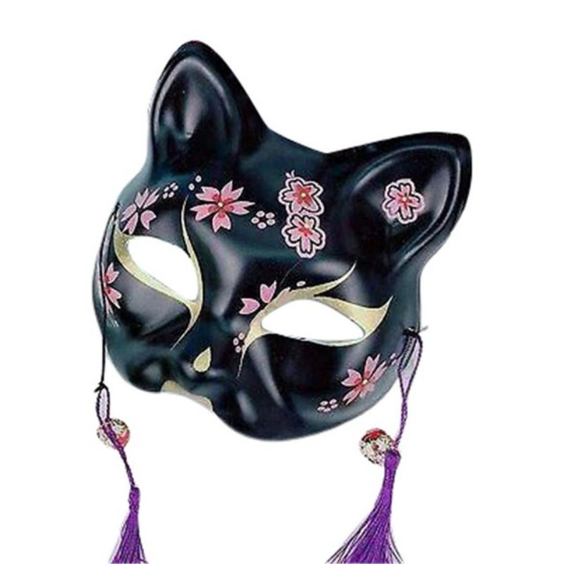 2020 Unisex Japanese Fox Mask With Tassels&Bell Non-toxic Cosplay Hand Painted 3D Fox Mask Costumes Props Accessories 1