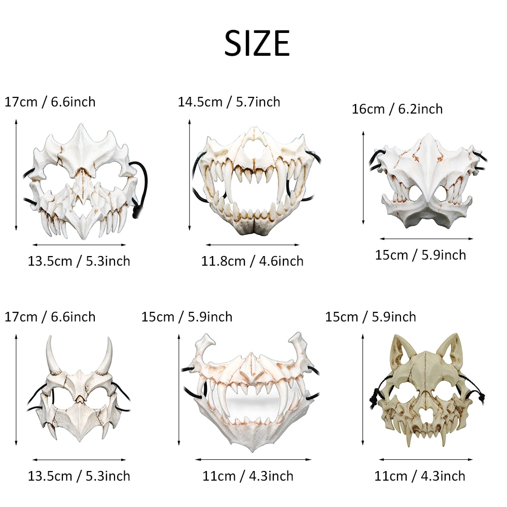 Party Mask Long Teeth Demon Samurai White Bone Mask Tengu Dragon Yaksa Tiger Resin Mask Cosplay Halloween Props Accessories 6
