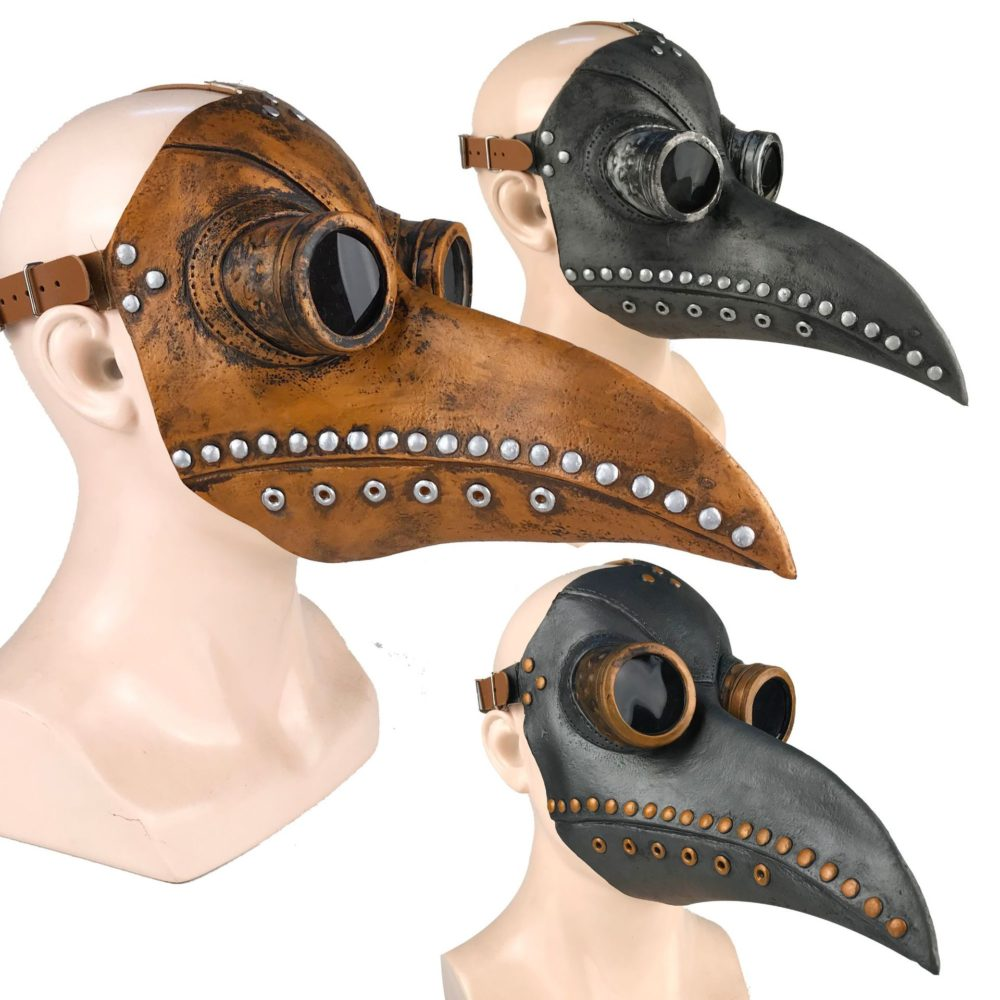 Funny Medieval Steampunk Plague Doctor Bird Mask Latex Punk Cosplay Masks Beak Adult Halloween Event Cosplay Props 1