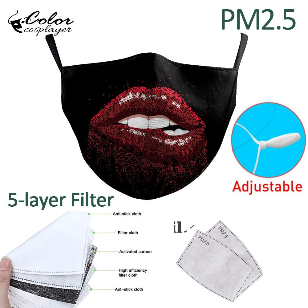 Color Cosplayer Big Mouth Series Skull Face Fabric Mask Printing Fabric Mask Mouth-Muffle Washable Reusable Mask 2
