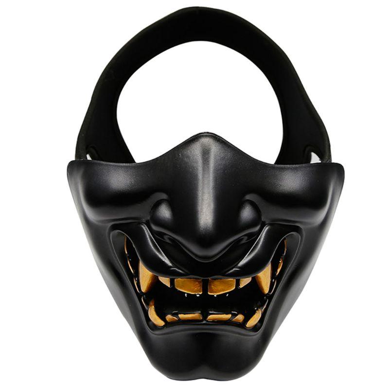 Half Face Mask Cosplay Kabuki Samurai Devil Tactical Halloween Party Festival Prom COS Devil Horror Face 1