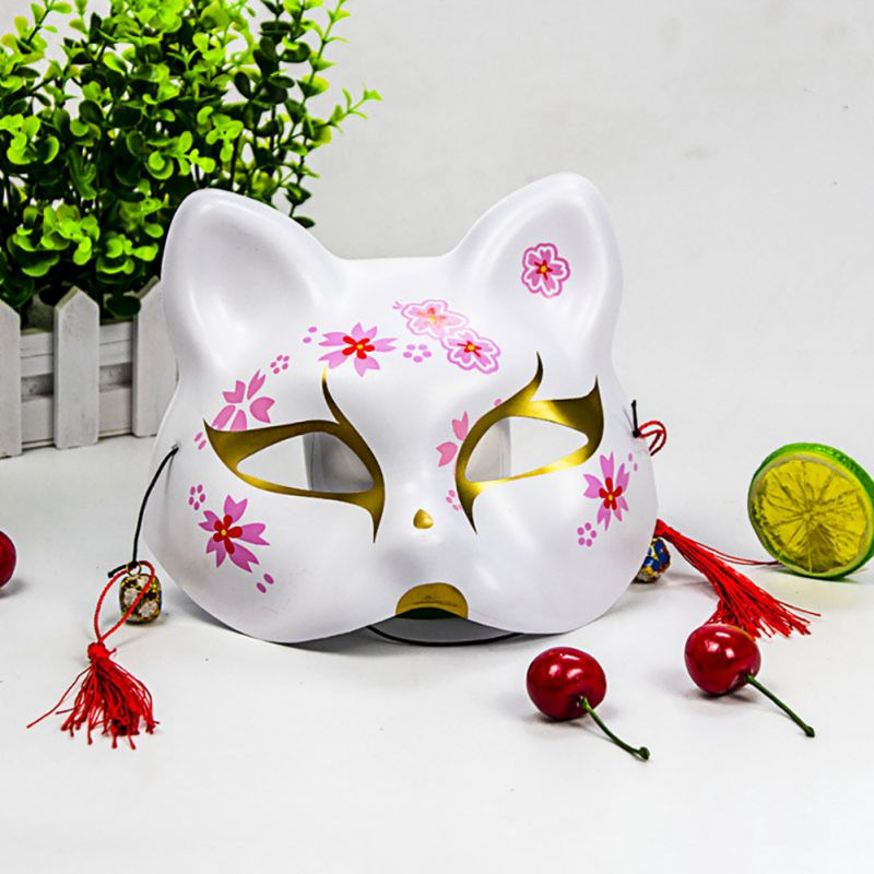2020 Unisex Japanese Fox Mask With Tassels&Bell Non-toxic Cosplay Hand Painted 3D Fox Mask Costumes Props Accessories 4
