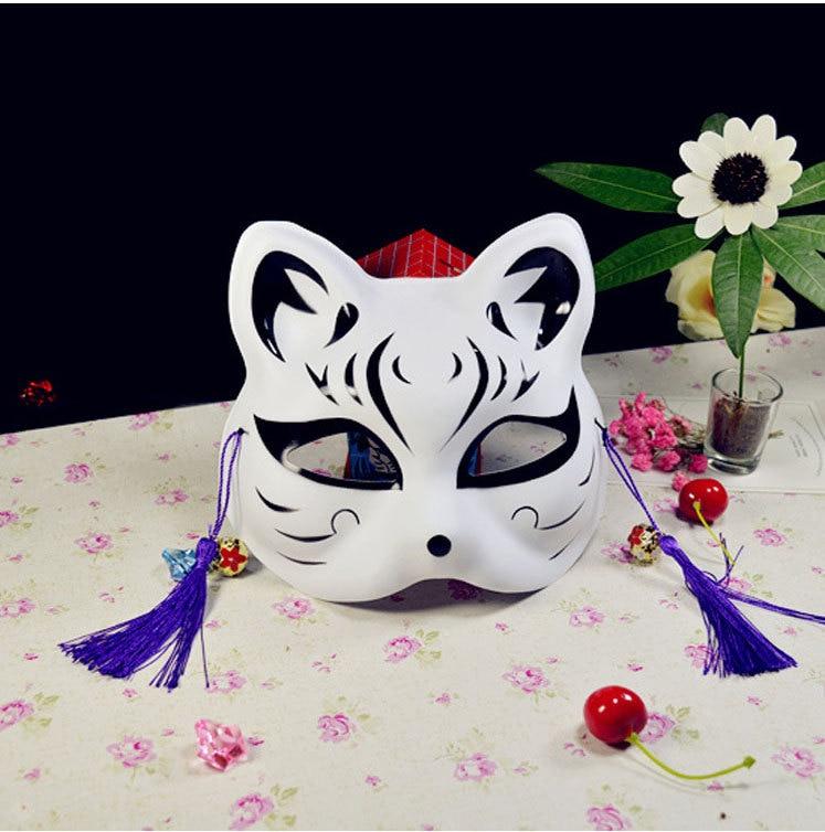 Japanese Fox Masks Full Face Hand-painted Style PVC Fox Cat Mask Cosplay Masquerade Festival Ball Kabuki Kitsune Cosplay Costume 16