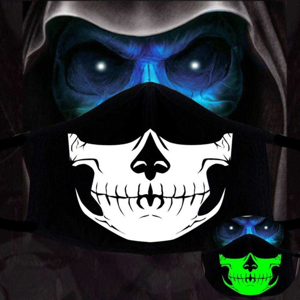 Halloween Cotton DIY Luminous Accessories Dust Masks Skeleton PM2.5 Dustproof Skull Half Face Mask Cosplay For Adult Skull Masks 3