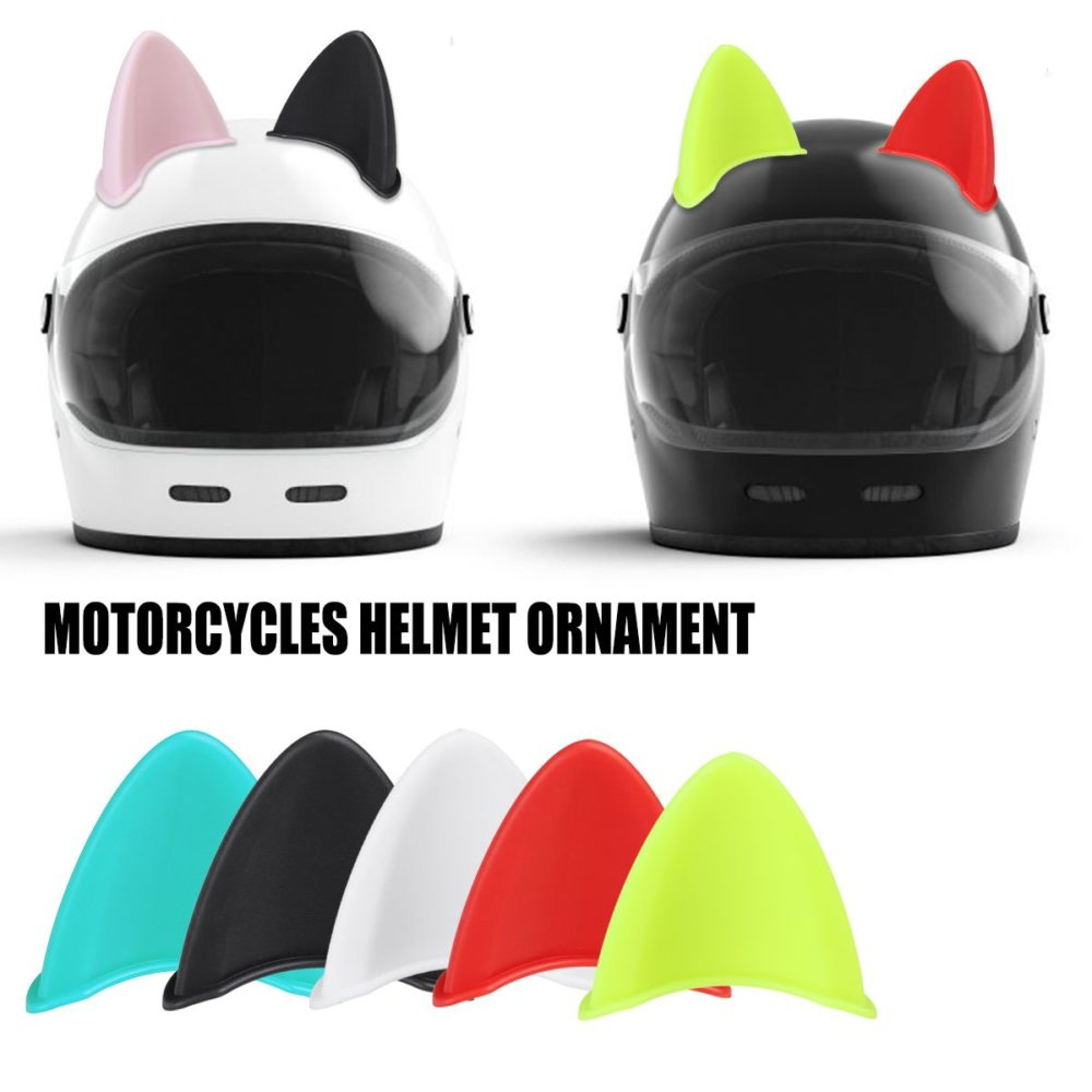 1Pcs Car Motorcycle Helmet Cat Ears Motocross Off Road Helmet Decoration Sticker Cosplay Ornament Accessory ABS 3D Sticker 1