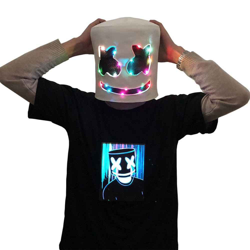 DJ LED Luminous Masks Helmet Mask Cosplay Prop DJ Halloween Party Luminous DJ Marshmallow Mask Halloween Party Cosplay 3