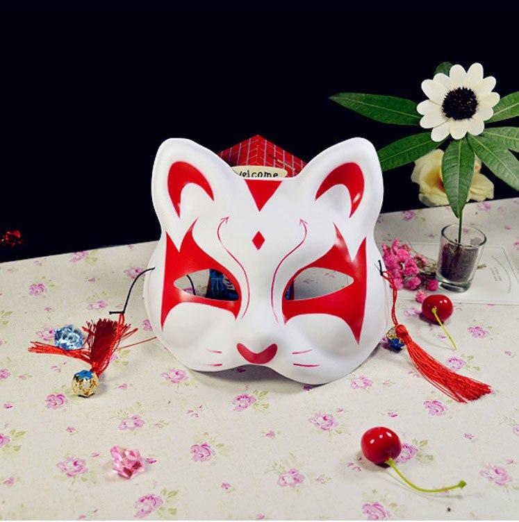 Japanese Fox Masks Full Face Hand-painted Style PVC Fox Cat Mask Cosplay Masquerade Festival Ball Kabuki Kitsune Cosplay Costume 4