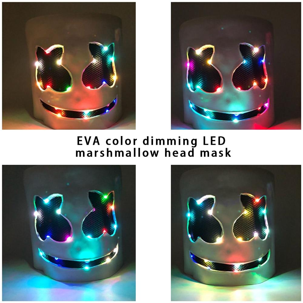 DJ LED Luminous Masks Helmet Mask Cosplay Prop DJ Halloween Party Luminous DJ Marshmallow Mask Halloween Party Cosplay 4