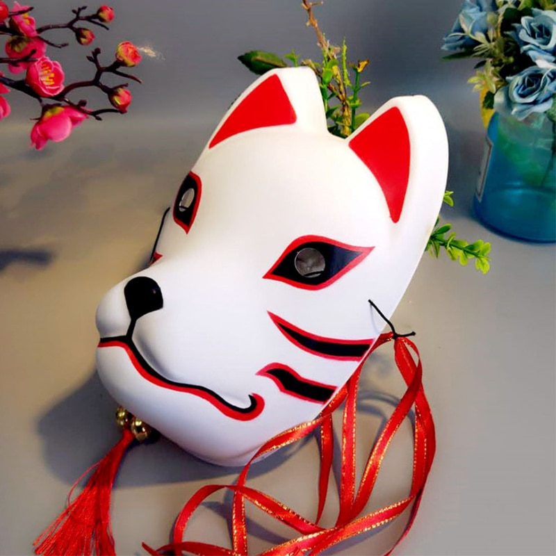 Full Face Japanese Fox Mask Kitsune Cosplay Masks Masquerade Fox Masks Japanese Mask PVC Festival Kabuki Masks Cosplay Costume 5