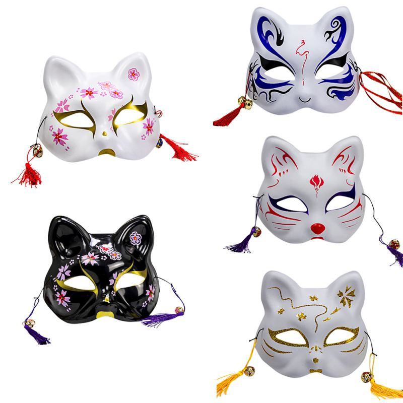 2020 Unisex Japanese Fox Mask With Tassels&Bell Non-toxic Cosplay Hand Painted 3D Fox Mask Costumes Props Accessories 6