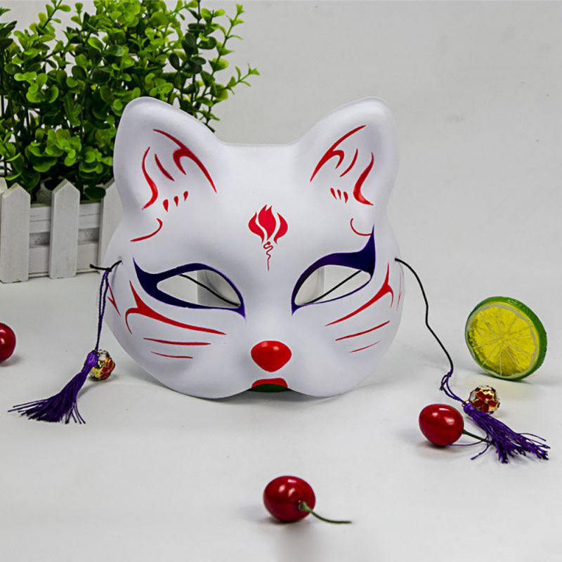 2020 Unisex Japanese Fox Mask With Tassels&Bell Non-toxic Cosplay Hand Painted 3D Fox Mask Costumes Props Accessories 2