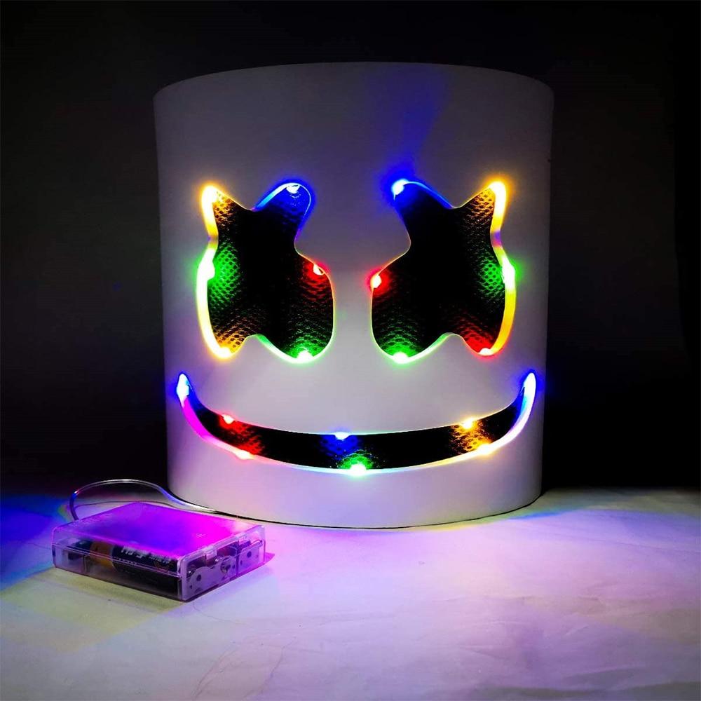 DJ LED Luminous Masks Helmet Mask Cosplay Prop DJ Halloween Party Luminous DJ Marshmallow Mask Halloween Party Cosplay 2