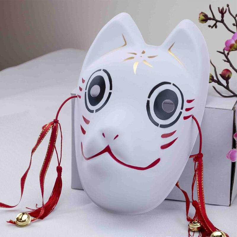 Full Face Japanese Fox Mask Kitsune Cosplay Masks Masquerade Fox Masks Japanese Mask PVC Festival Kabuki Masks Cosplay Costume 4