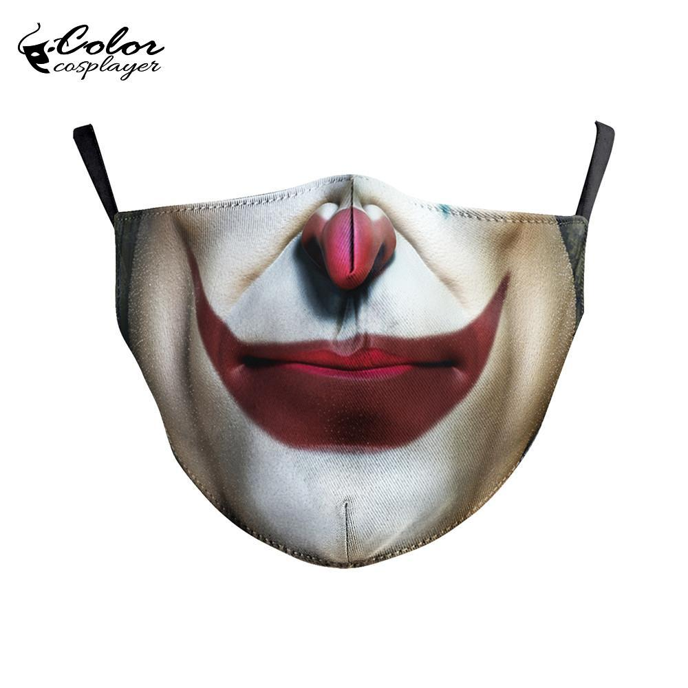 Color Cosplayer Big Mouth Series Skull Face Fabric Mask Printing Fabric Mask Mouth-Muffle Washable Reusable Mask 3