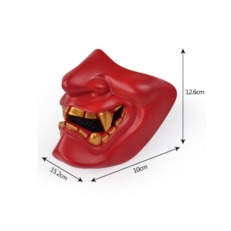 Half Face Mask Cosplay Kabuki Samurai Devil Tactical Halloween Party Festival Prom COS Devil Horror Face 6