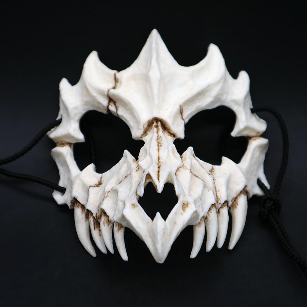 Party Mask Long Teeth Demon Samurai White Bone Mask Tengu Dragon Yaksa Tiger Resin Mask Cosplay Halloween Props Accessories 4
