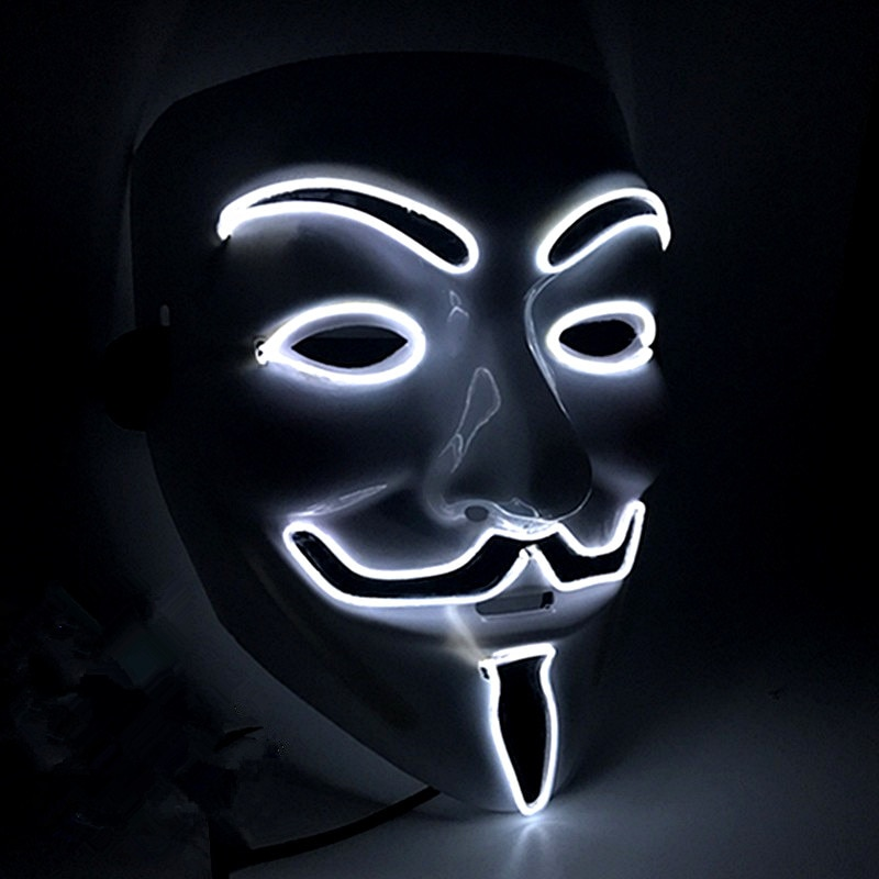 Halloween Mask Vendetta EL Wire Mask Flashing Cosplay LED neon Costume Anonymous Mask for Glowing Dance Carnival Party Masks 1
